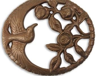 1 Piece 47mm Rose Jay, Large Natural Brass Focal Pendant, Vintaj Natural Brass, Vintaj Item P0005