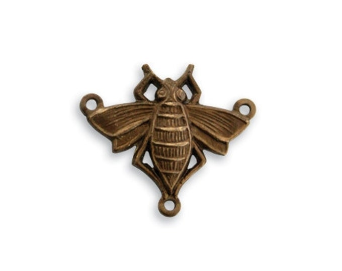 3 Pieces 20x18mm Queen Bee Connectors, Natural Brass, Vintaj Item Y60