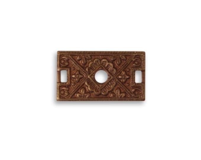 2 pieces Etruscan Rectangle Connector , 17x10mm, Natural Brass, Vintaj Item C2H010
