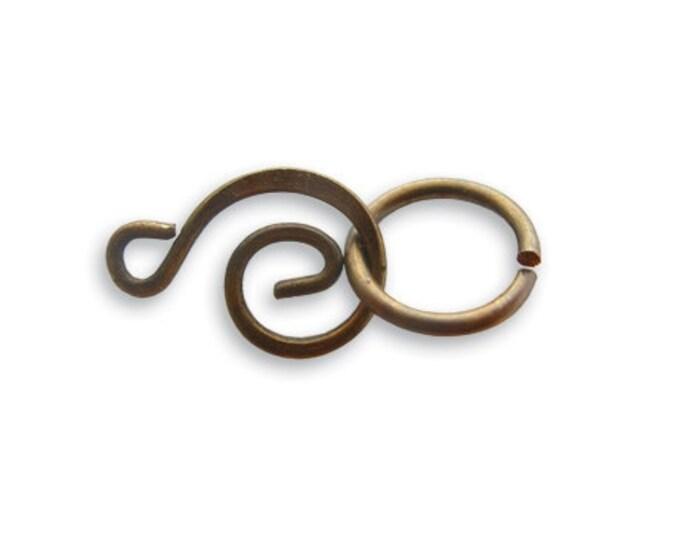 4 Sets  21x9mm Swirl Clasp Sets by Vintaj Natural brass item CL60