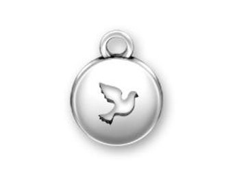 Sterling Silver DOVE Domed charm Peace Dove Charm