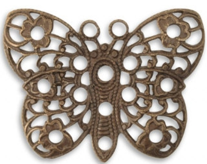 2 pieces 32.5mm Peacock Butterfly Vintaj Natural Brass P0006