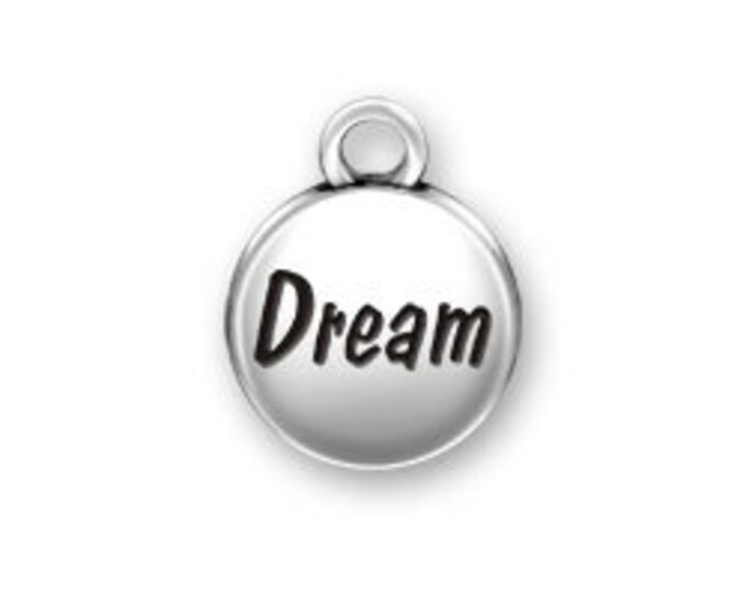 Sterling Silver DREAM domed round charm