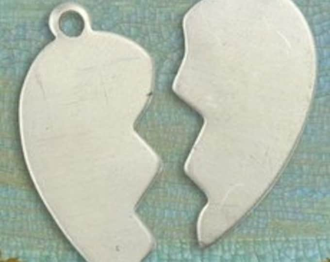2 sets of Right and Left Pewter heart blanks, Vintaj PT075 and PT074