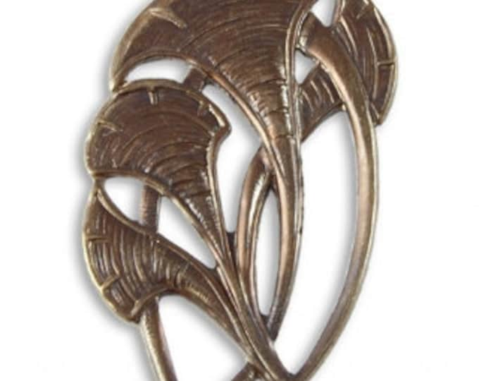 Brass Ginkgo Leaves Pendant, Vintaj Natural Brass Item P024