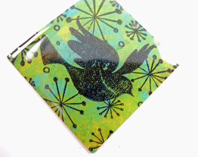 Whimsical Bird images stamped on Square Brass Pendant