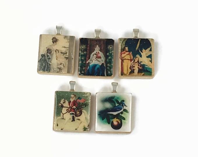 Set of 5 Christmas Scrabble Tile Pendants Set #28