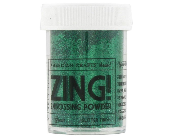 Green Glitter finish Embossing Powder, Zing Embossing Powder, 1 oz Jar, Green Embossing Powder