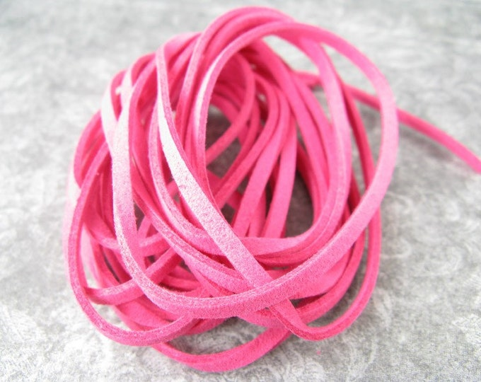 10 foot piece of Hot Pink Faux Leather Suede Cord