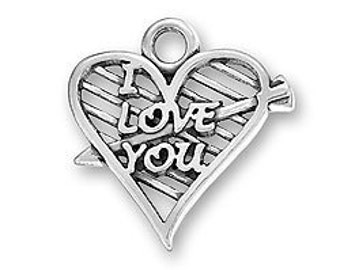 Sterling Silver I Love You Heart with Arrow