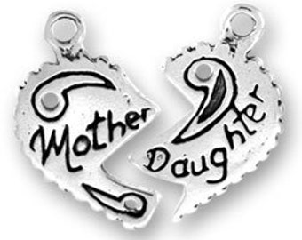 Sterling Silver Mother Daughter 2 piece charm