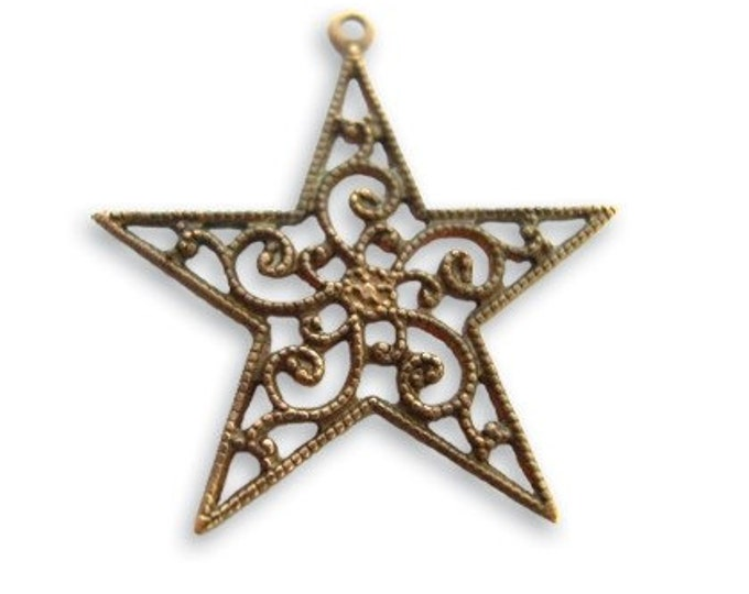 2 Pieces Brass Filigree Star Drop by Vintaj Item DP160 26x25mm