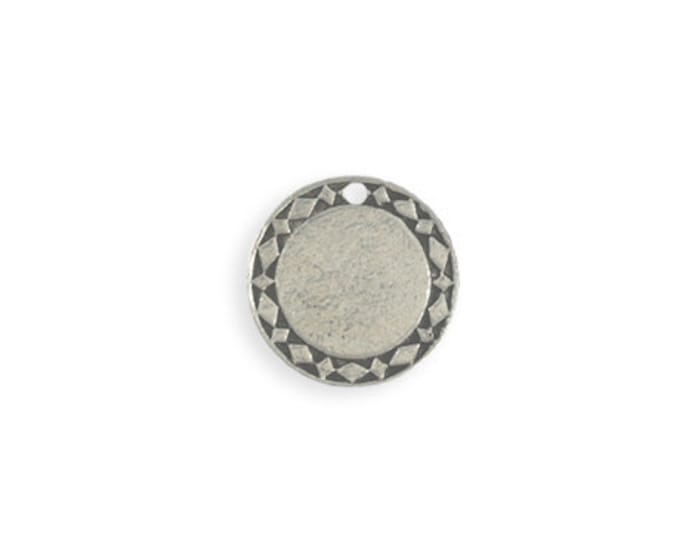 2 pieces 15mm Pewter Diamond Circle Blank - Artisan Pewter Vintaj PT137