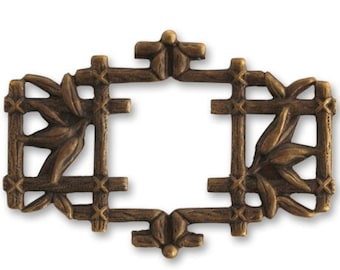 SALE: 2 pieces of 40x27mm Asian Frame, Natural brass Asian Frame, Vintja Natural Brass, Vintaj Item FR0020