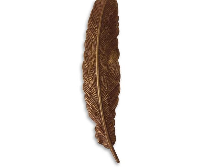 1 piece 53x12mm Brass Feather, Vintaj Natural Brass Item P125