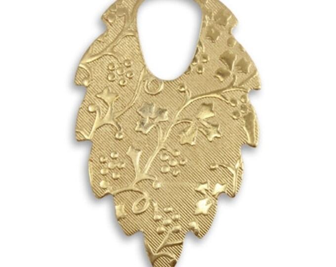 4 pieces Vogue Patterned Leaf Pendant Vintaj Vogue PV445
