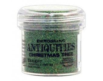 Christmas Tree Embossing Powder, Antiquities Embossing Powder by Ranger, 1 oz Jar, Green Embossing Powder