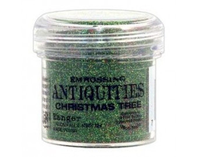 Christmas Tree Embossing Powder, Antiquities Embossing Powder by Ranger, 1 oz Jar, Green Embossing Powder