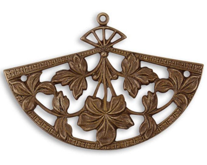 1 Piece 37x54mm Fanned Blossom, Brass Fan Pendant or Drop, Vintaj Brass Item P358