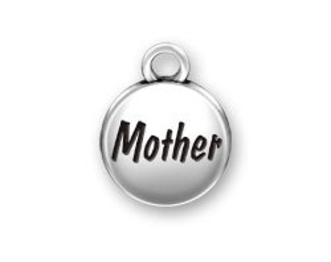 Sterling Silver MOTHER domed round charm