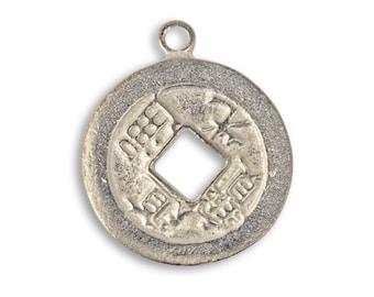 1 Piece Fortune Coin Pewter Charm 21mm Vintaj Artisan Pewter PT002