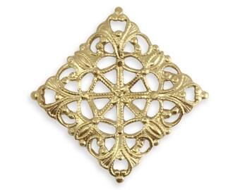 4 pieces Moroccan Tile Filigree Square, Vintaj Vogue, Vintaj Natural Brass FV432 Solid Brass