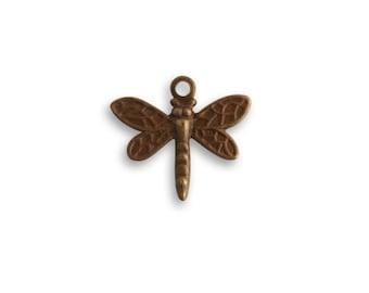 4 pieces tiny 13x12mm Princess Dragonfly  charm by Vintaj Natural brass item DP460