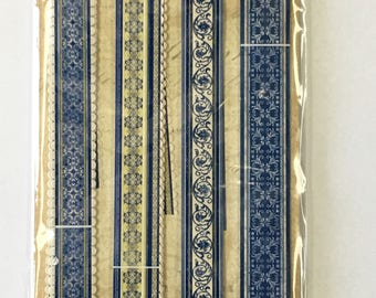 Blue Awning Adhesive Paper Ribbon by K&Company Paper Crafts, Scrapbooking, Card Making,