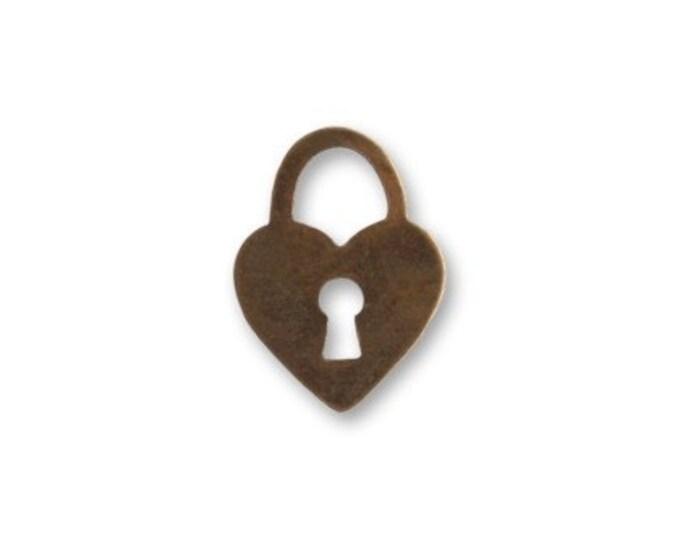 5 pieces Teensie Heart Antique Brass Charm Embellishment by Vintaj DP410