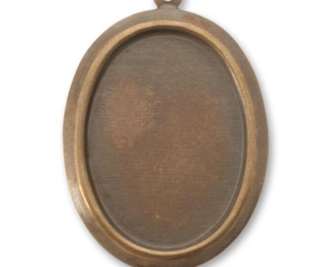 2 pieces Oval Frame Bezel, Vintaj Natural Brass, P380