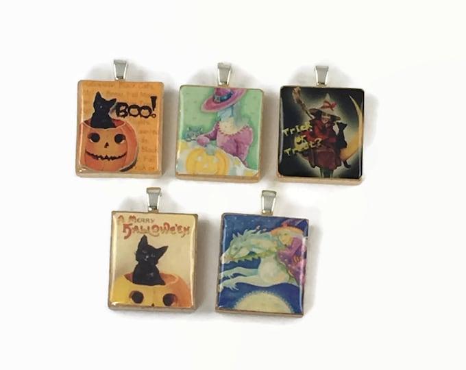Set of 5 Halloween Scrabble Tile Pendants Set #29