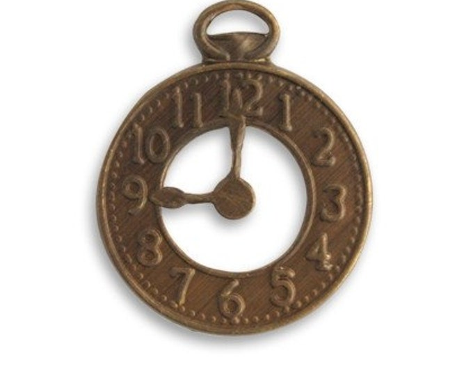 SALE: 3 pieces of  natural brass Clock embellishment - 25 x 20mm by VINTAJ -  DP450