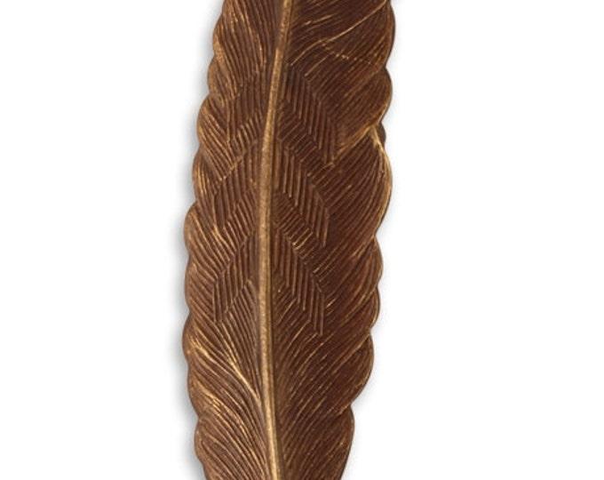 1 piece 88x18mm Large Brass Feather, Vintaj Natural Brass Item P114