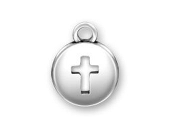 Sterling Silver CROSS domed round charm