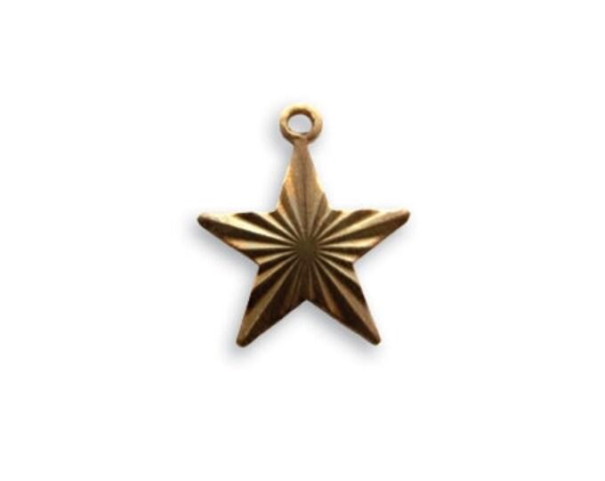 4 pieces tiny Etched Star Charm - Brass, Vintaj Natural Brass Item DP195, 14x13mm  Star Charm