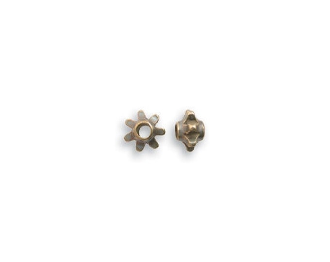 10 pieces 6mm Flower Spacer Beads by Vintaj Natural brass item BD200