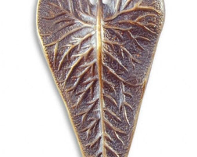 1 Brass Leaf Pendant, 50x25mm Wildwood Leaf , Vintaj P025
