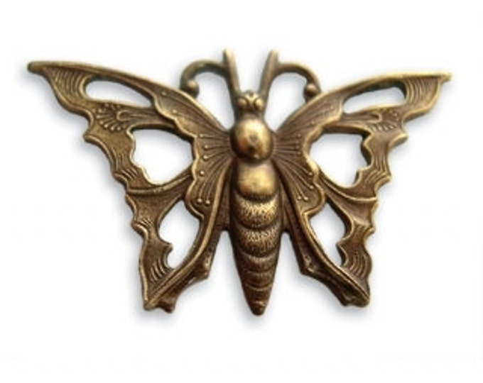 Open Work Butterfly, Natural Brass, Vintaj Item P30