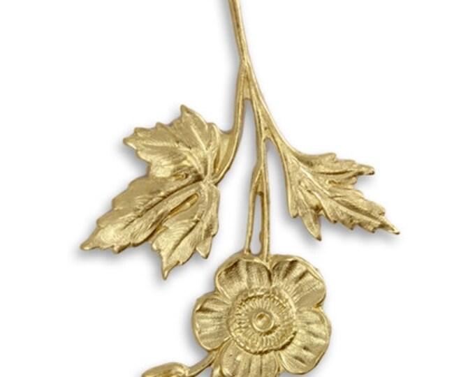 1 piece Brass Stemmed Flower Pendant Embellishment, Vintaj Vogue PV059