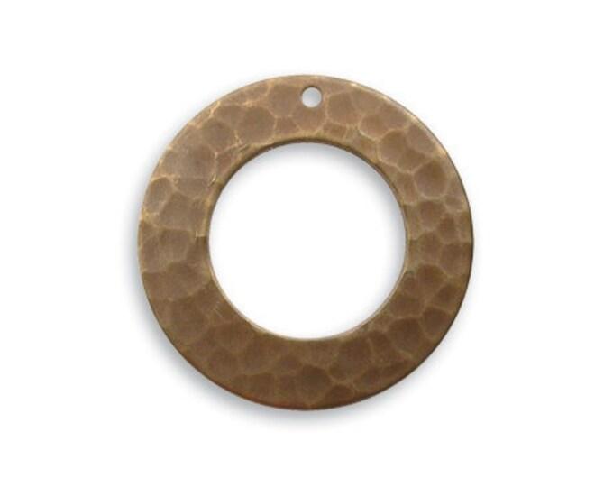 4 pieces 22mm Hammered Rings by Vintaj, Natural Brass, Brass Ring, Vintaj Item DP210