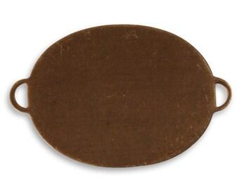 2 pieces Brass Oval Blank Pendant, Vintaj Natural Brass P0044