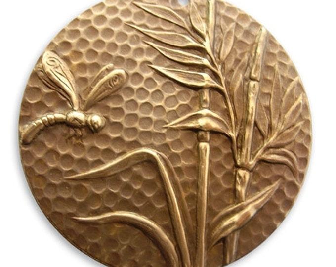 1 piece Dragonfly Reed Pendant, Vintaj natural Brass, Vintaj item P130