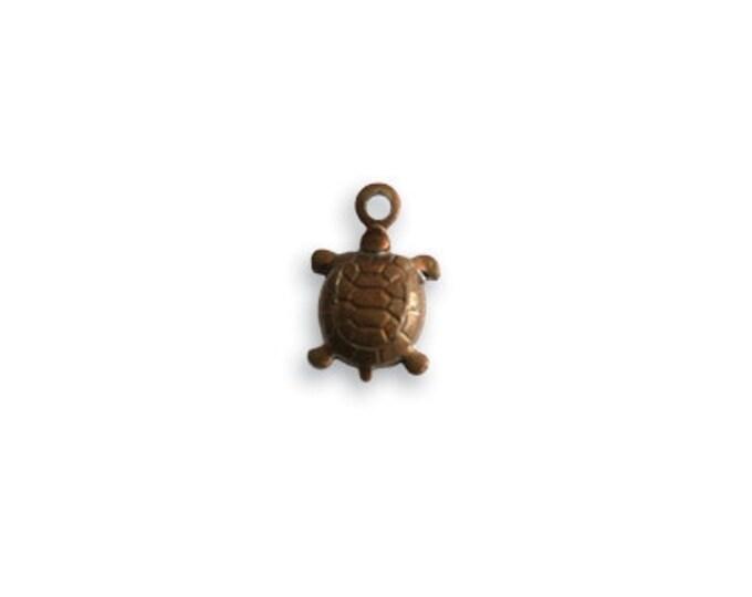 4 pieces tiny 10x7mm Teensie Turtle brass charm by Vintaj Natural brass item DP25