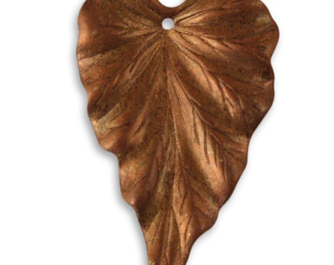2 pieces of 38x23mm COPPER Woodland Leaf, Vintaj Item CP0001