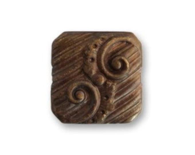 CLEARANCE: 6 pieces 7mm Swirling Button Decorivet, Vintaj Natural Brass, Vintaj item BR0010