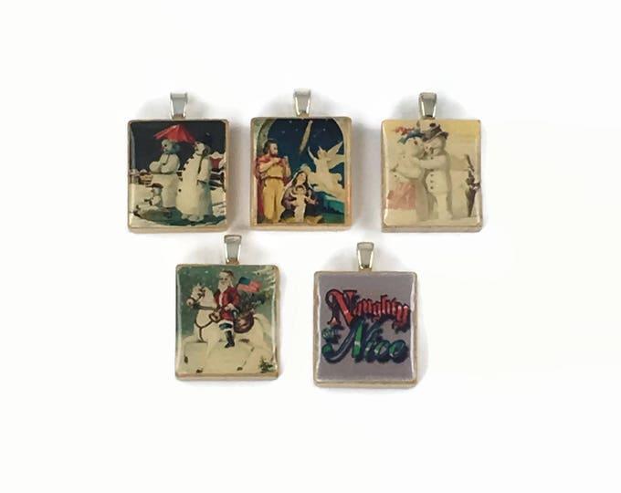 Set of 5 Christmas Scrabble Tile Pendants Set #16