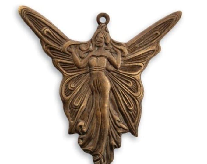 SALE: 2 piece  30mm x 30mm Art Deco brass Angel pendant  by VINTAJ -  P240