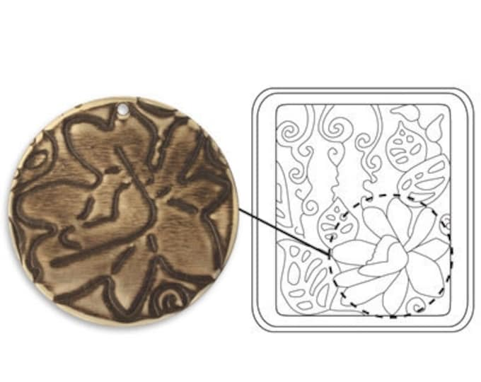 Botanical Flourish Deco Etch Die Plate, Szzix and Vintaj Etching Plate