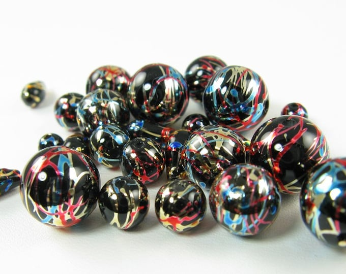 Black Red Gold and Blue Party Beads  Assorted Sizes