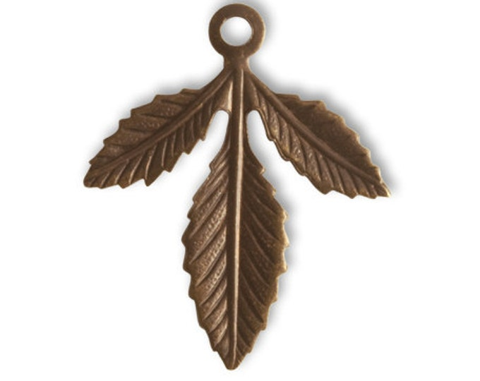 3 pieces Triplasian Leaf, Brass Leaf fastener, 30x24mm, Vintaj Natural Brass, Item FS015
